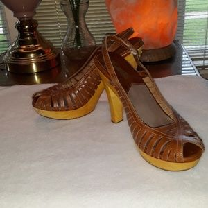 Michael Kors leather strappy high heels size 7.5